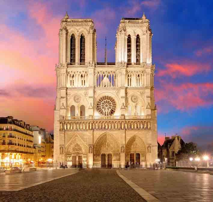 Frontansicht der Kathedrale Notre Dame de Paris