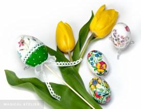 Pisanki z motywem kwiatowym