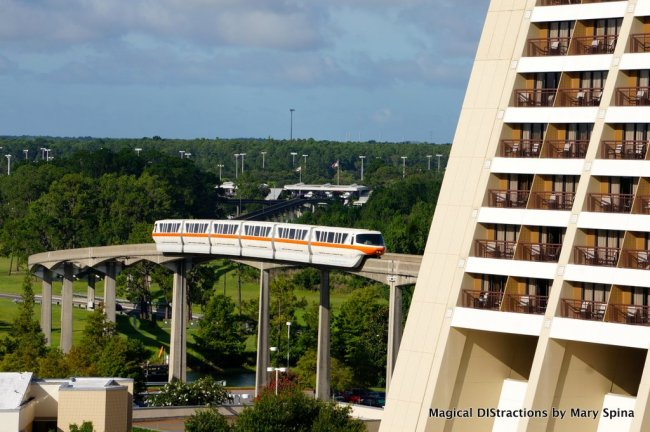 View from Bay Lake Tower of the Monorail entering the Contemporary