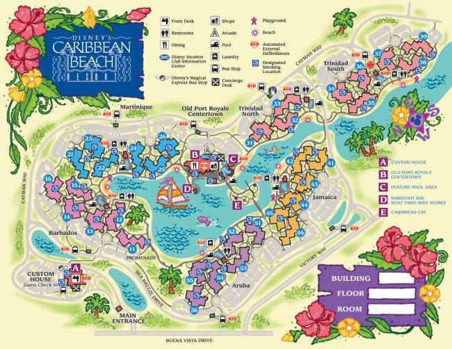 Disney's Caribbean Beach Resort Map