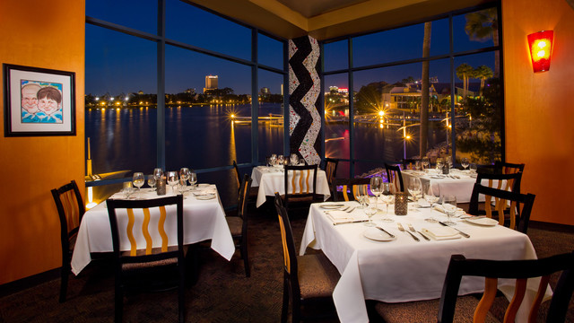 The Dining Room with views of Crescent Lake