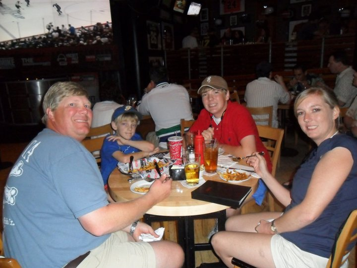 Family eating at the ESPN Club