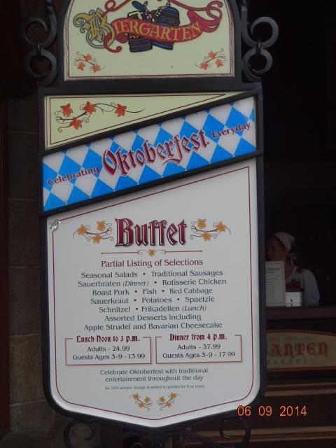 Biergarten menu