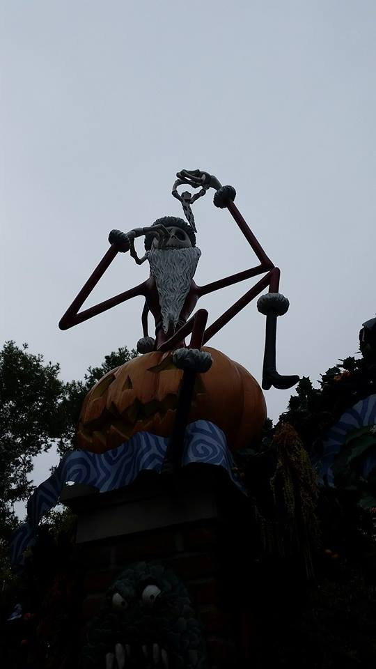 Jack Skellington greeting guests as they enter Haunted Mansion Holiday