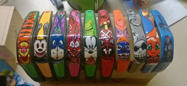 Magic bands my husband hand-painted for our recent Disney World trip.