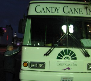 White and green Candy Cane Inn Shuttle