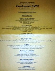 Disney's Vero Beach Resort Thanksgiving Buffet Menu