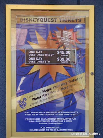 DD - Disney Quest pricing