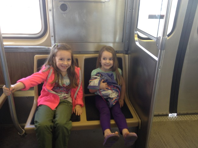 Riding the Orange L Train to downtown Chicago!