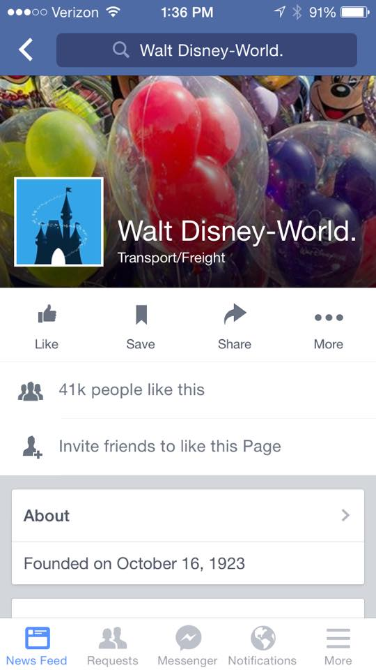 Screenshot of a fake Walt Disney World Page