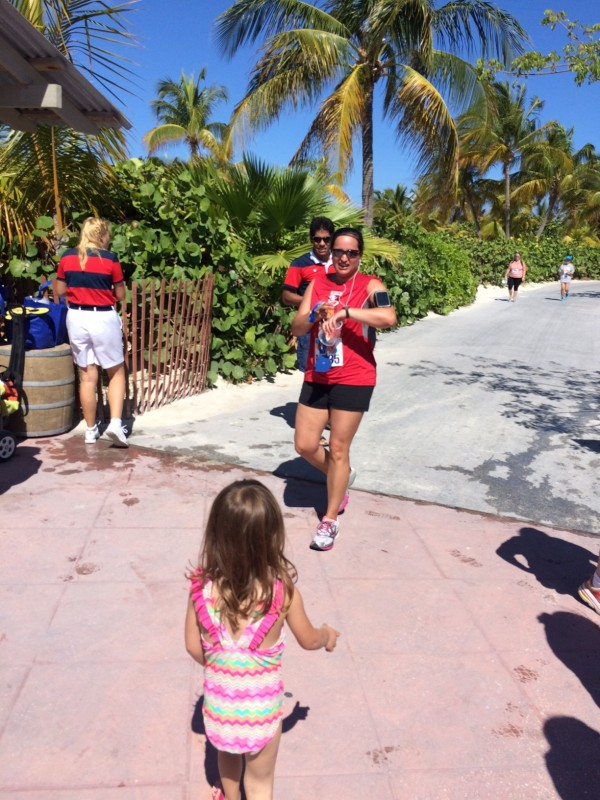 A photo of me finishing the Castaway Cay 5K run