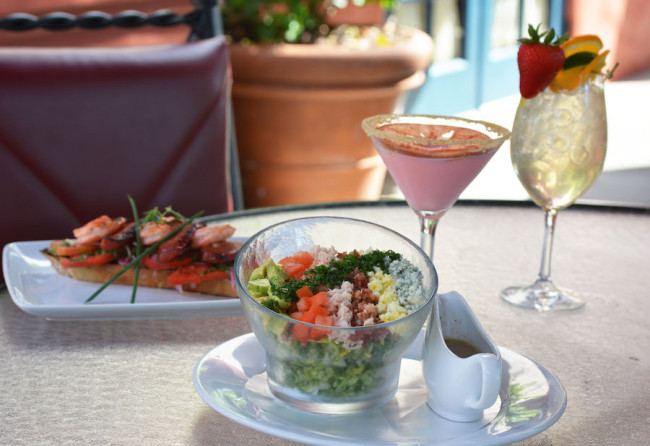 Cobb Salad, Bloody Mary Marinated Shrimp, Grapefruit Cake Martini. Photo courtesy of Disney Parks Blogs