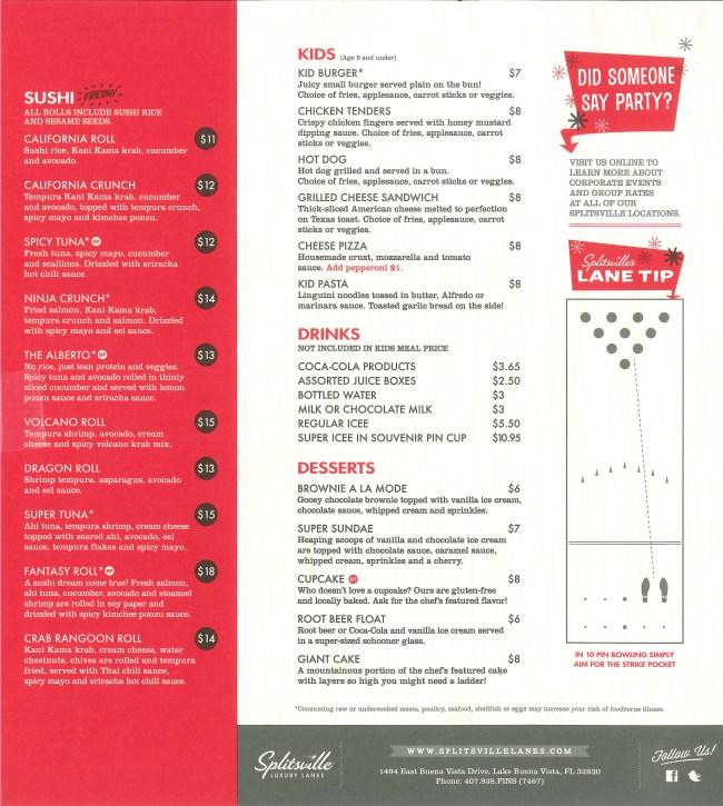 Back page of Splitsville menu