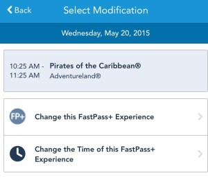 Screenshot demonstrating ability to make changes to existing FastPass+ selection