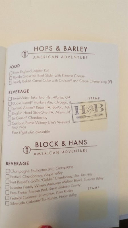 A photo of the menu for the Hops and Barely Food Booth at the Epcot International Food and Wine Festival 2015