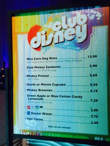 The Snack Bar Menu in Club Disney