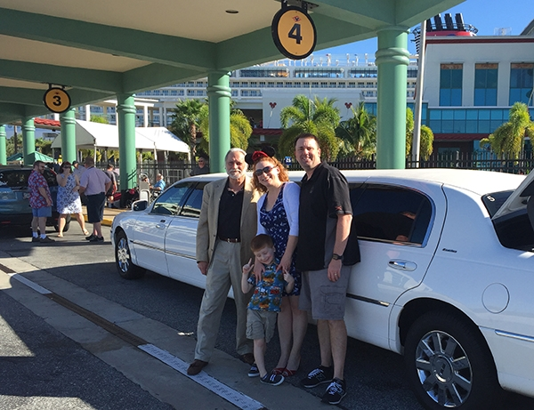 Family at Port Canaveral ready to embark on Disney Cruise