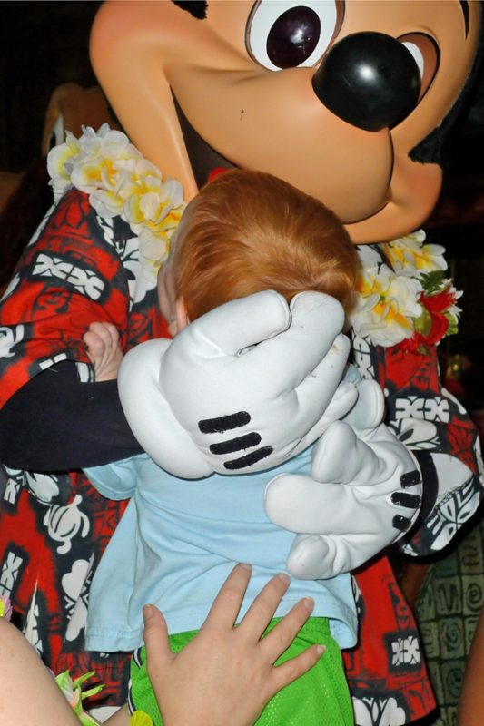 Baby Meeting Mickey Mouse for the First Time.