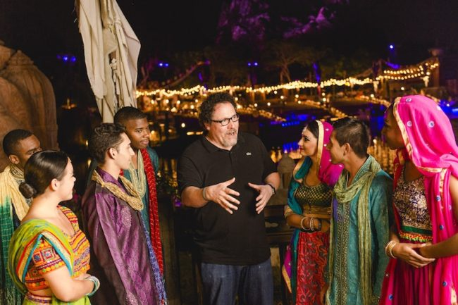 """(May 27, 2016): Filmmaker Jon Favreau congratulates cast members of """"The Jungle Book: Alive with Magic"""" musical Friday, May 27, 2016, during opening weekend of the new nighttime show at Disney's Animal Kingdom in Lake Buena Vista, Fla. Photo courtesy of Disney (Chloe Rice, photographer)"""
