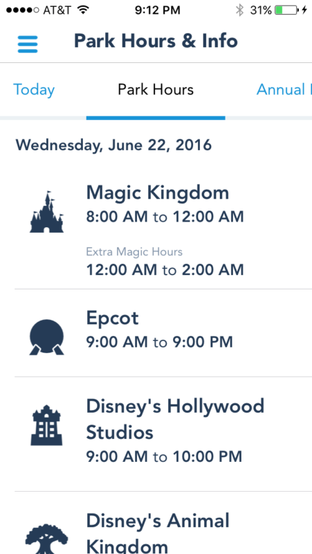 Park Hours showing Extra Magic Hours for Magic Kingdom on the My Disney Experience App!