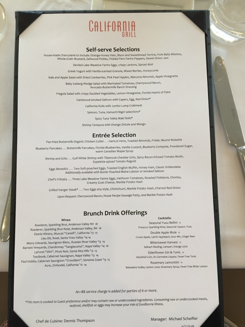 California Grill brunch menu Image by Mary Spina