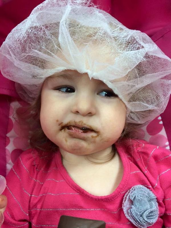 Enjoying chocolate samples