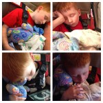 One boy is asleep in each photo of this four photo composition