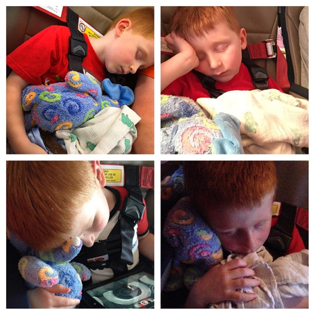 Safety first! The same boy is asleep in each photo of this four photo composition