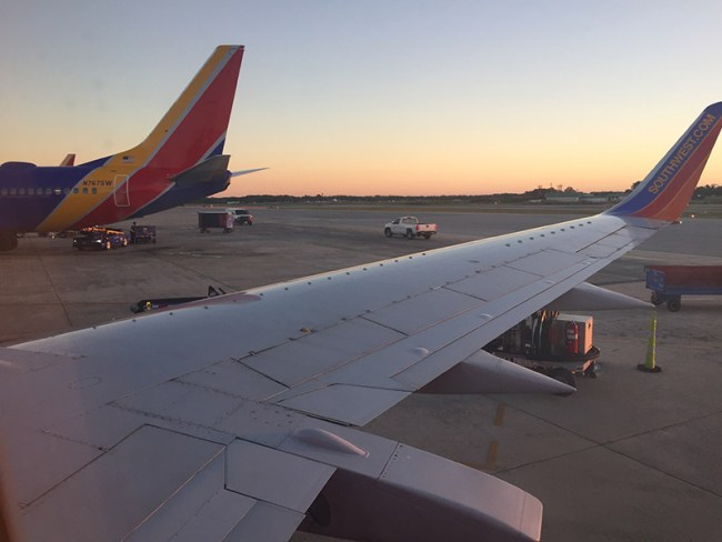 View from the window seat on a flight departing from Baltimore Washington International Airport