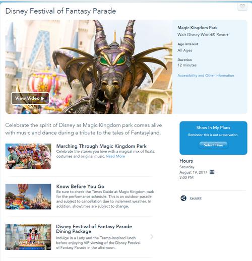 Festival of Fantasy Parade screenshot with parade time