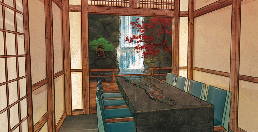 Photo of the concept art for Takumi-Tei, Epcot's new restaurant at Japan Pavilion