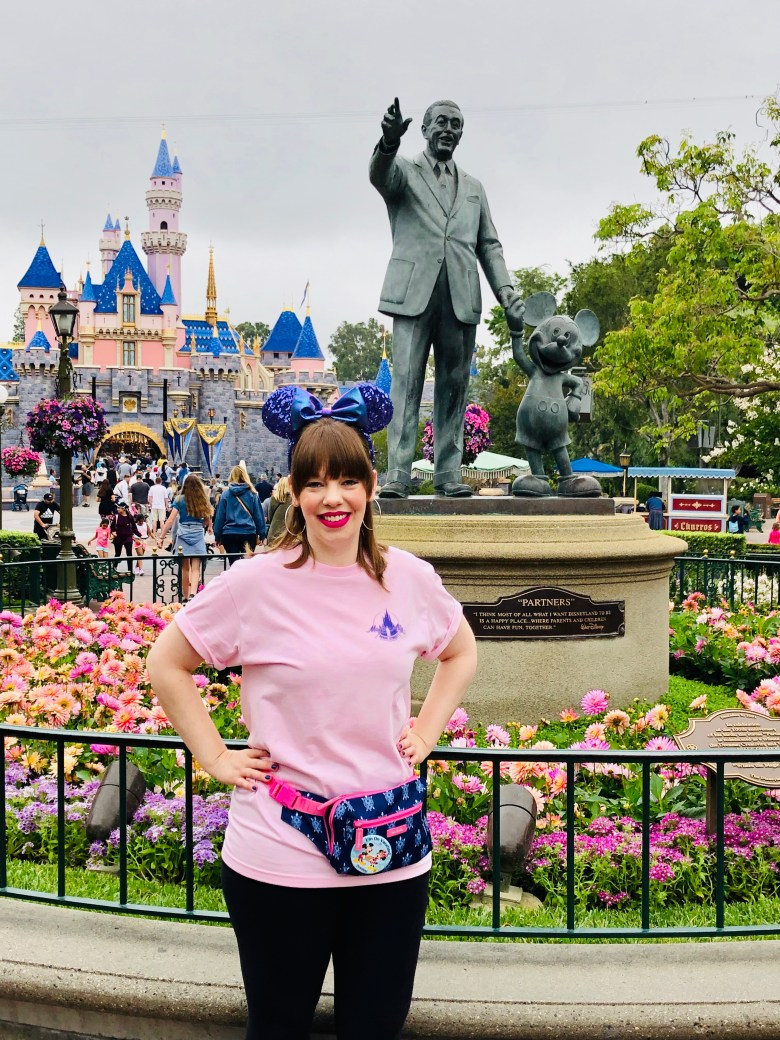 Photo of Magic-Ally Main Street in front of Partners Statue at Disneyland