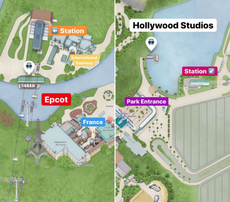 Photo of Epcot and Hollywood Studios Disney Skyliner Stations