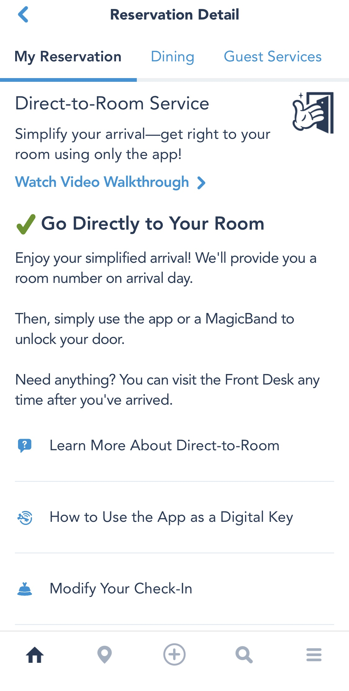 Photo of how to decline housekeeping on the My Disney Experience app