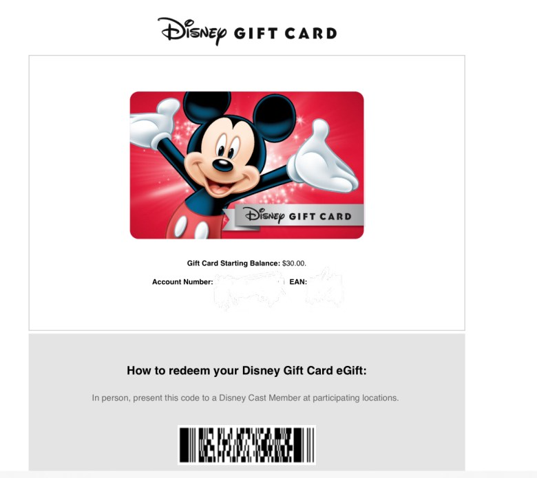 Photo of Disney Gift Card you receive when declining WDW housekeeping