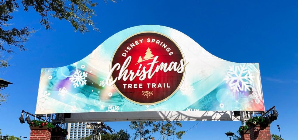 Photo of the Disney Springs Christmas Tree Trail sign