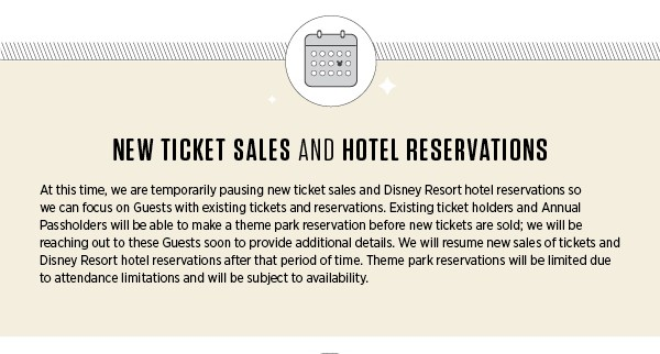 New ticket sales and hotel reservations for Walt Disney World's reopening