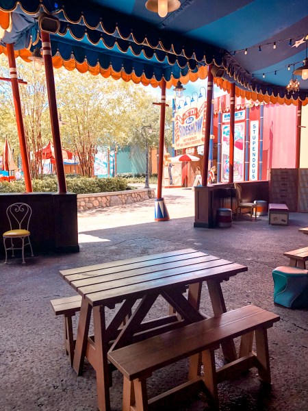 Outdoor dining in Storybook Circus at Magic Kingdom