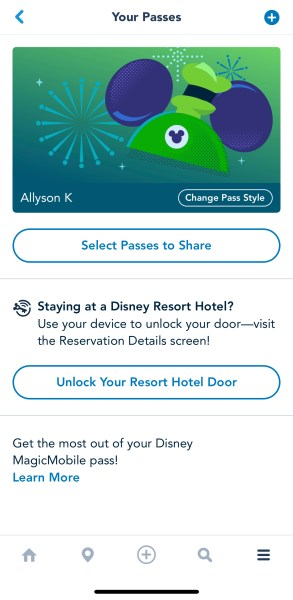 select passes to share on disney magicmobile