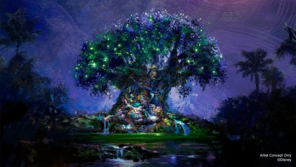 new nighttime projections on tree of life for disney world's 50th