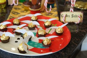 magical mama blog harry potter first birthday party golden snitches ferrero rocher