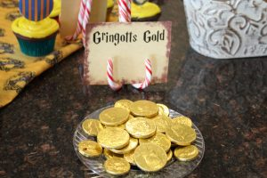 magical mama blog harry potter first birthday party gringotts gold chocolate coins