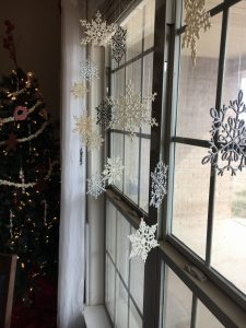 magical mama blog snowflakes window curtain rod christmas decor decorations baby safe toddler proof