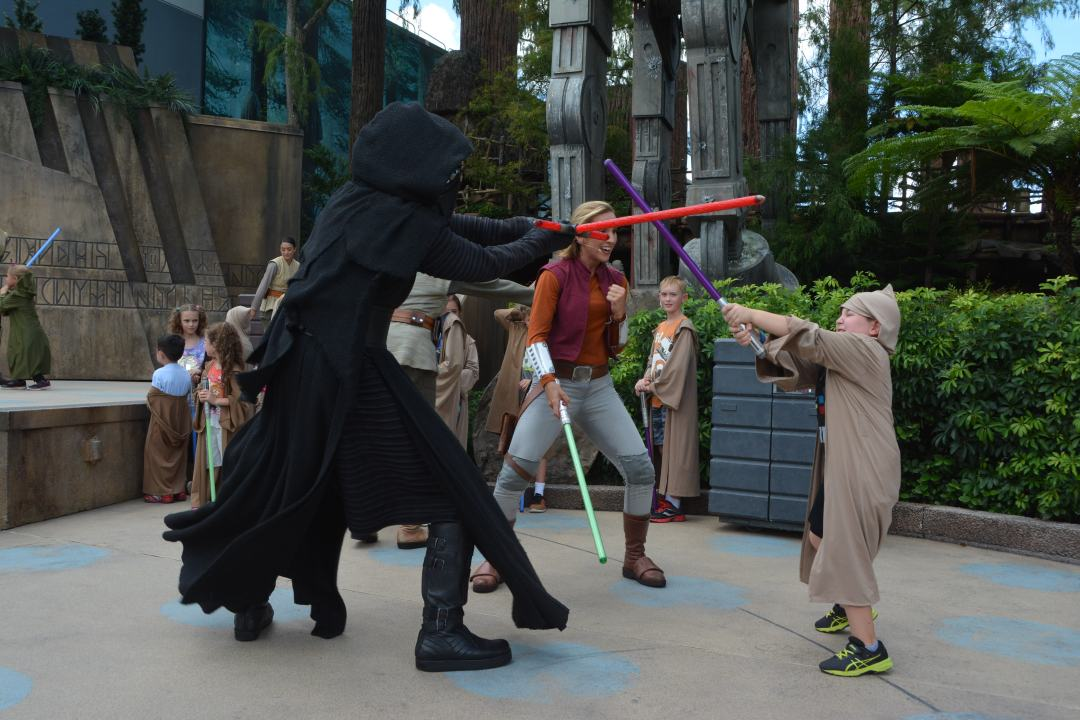A padawan battles Kylo Ren  at Disney's Hollywood Studios in Orlando.