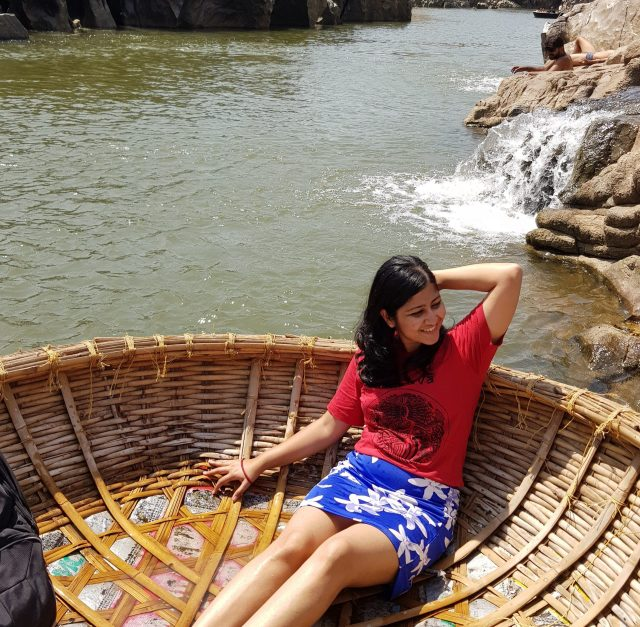 Coracle boat ride in the beautiful Hampi lake