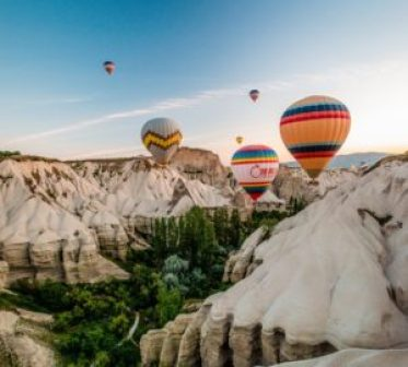 Famous hot air balloon ride in Cappadocia
