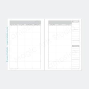 Planejamento mensal em duas páginas sem datas na cor cinza
