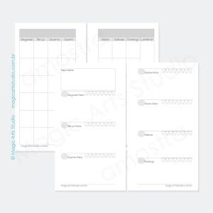Insert permanente com visão mensal em duas paginas, visão semanal em duas páginas com controle de água e espaço para anotações importantes em tamanho personal com bolinhas.