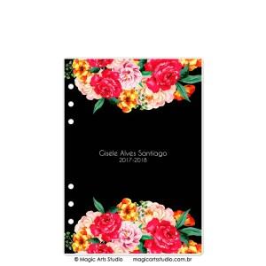 Dashboard Flowers Black - modelo 1 - tamanho A5