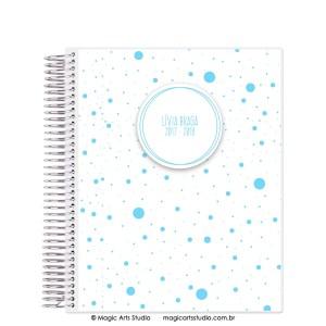 Magic Planner tamanho Large com espiral prata - Dots azul claro